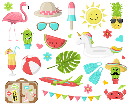 Summer icons symbols vector set Illustration