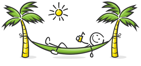 Stick figure read in a hammock with palm trees and sun