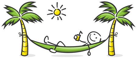 Stokfiguur gelezen in een hangmat met palmbomen en zon