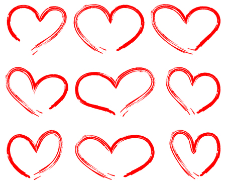 Hearts drawing vector set red