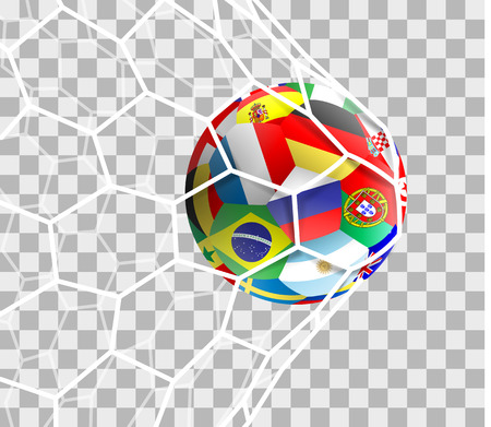Soccer ball with different national flags isolated on the net