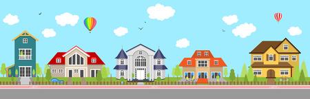 Fila di diverse case familiari colorate. Esterno della casa della casa.