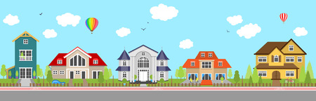 Row of different colorful family houses. House home exterior. Illustration