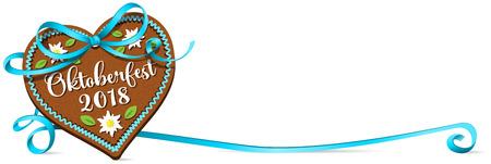 Oktoberfest 2018 gingerbread heart with blue ribbon bow. Oktoberfest banner. Ilustração