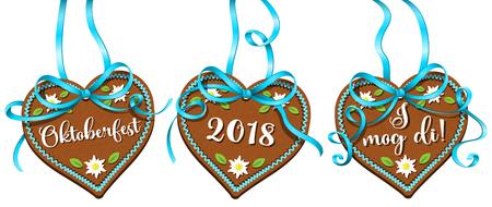 Oktoberfest 2018 gingerbread hearts with blue ribbon bow. Oktoberfest banner vector set.
