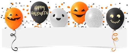 Happy Halloween banner with pumpkin balloons and confetti Ilustração