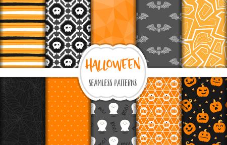Halloween seamless pattern background vector set