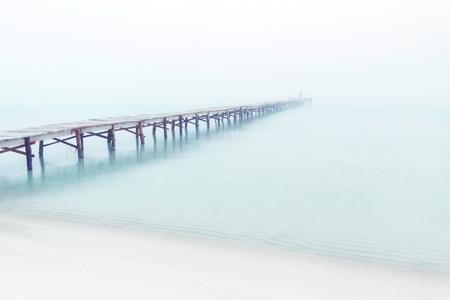 footbridge sea fog Imagens