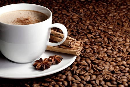 cappuccino cup with beans anise and cinnamon Imagens