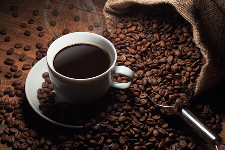 coffee with bean bag and shovel