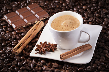 cup with beans anise cinnamon and chocolate