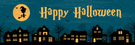 Town silhouette with a witch, pumpkin and bats at night. Happy halloween banner. Ilustração