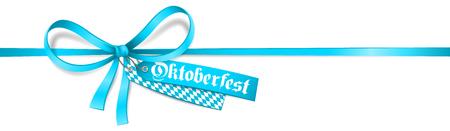 Blue ribbon bow with Oktoberfest label and bavarian flag. Isolated Oktoberfest card.