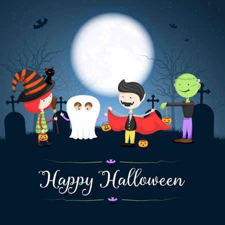 Happy Halloween card background with children in costumes