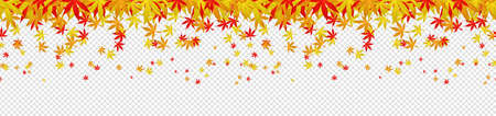 Colorful falling autumn leaves confetti seamless pattern background isolated