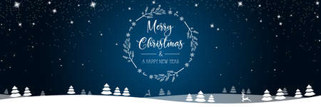 Merry christmas and new year card background with winter landscape
