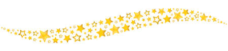 Golden stars wave form decoration isolated