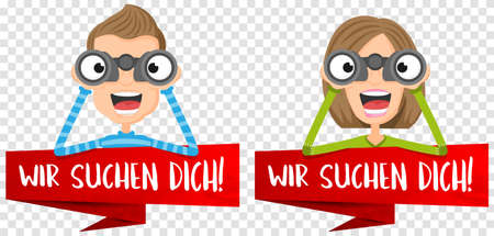 We are looking for you (german) vector illustration