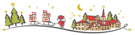 Christmas winter landscape drawing with santa claus and gift boxes isolated
