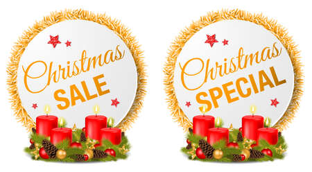 Christmas sale special offer buttons set collection isolated