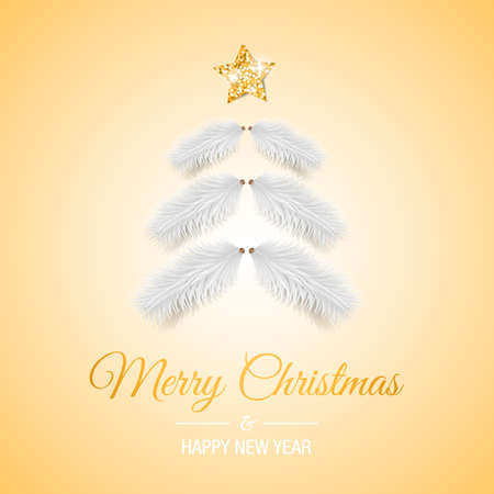 Merry christmas card with christmas tree ornament decoration template