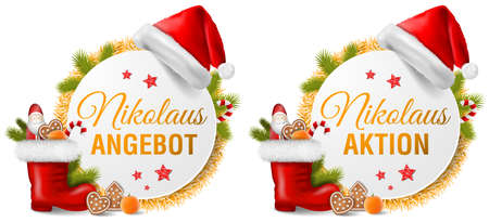 Christmas Nikolaus special offer (german) button set collection illustration isolated