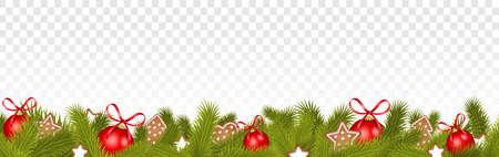 Christmas ornament decoration border frame isolated on transparent background