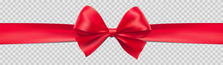 Red bow ribbon gift isolated on transparent background illustration