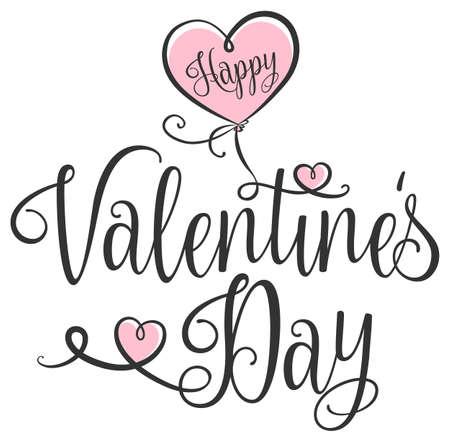 Happy Valentines Day typography with handwritten calligraphy text 矢量图像