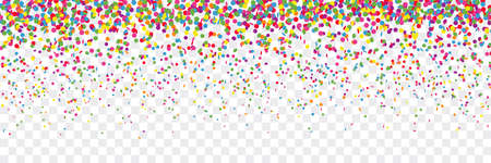 Colorful confetti rain party background transparent isolated illustration
