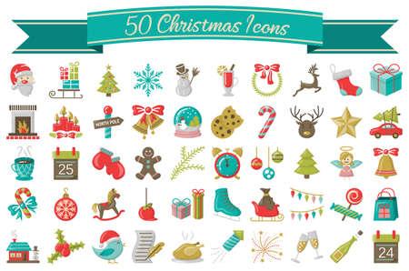 Christmas winter icons symbols set collection illustration
