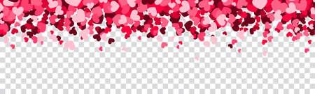 Hearts confetti rain isolated on transparent background 矢量图像