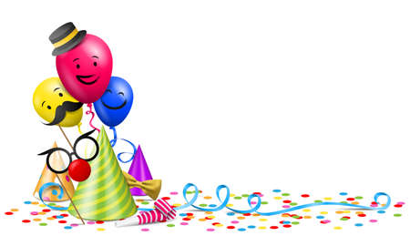 Party decoration with balloons, confetti, streamer and party hats isolated illustration