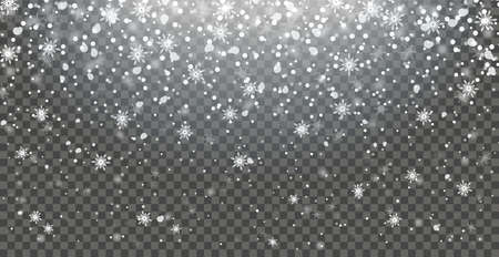Snow snowflake snowfall falling on transparent background isolated illustration 矢量图像