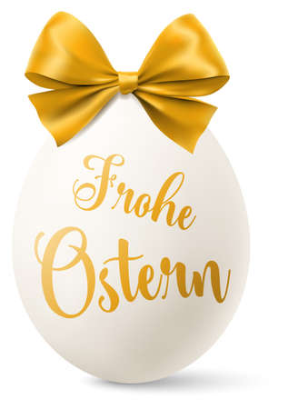 White easter egg with a golden bow and happy easter text isolated (german)