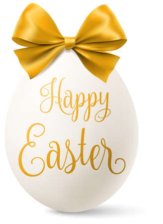 White easter egg with a golden bow and happy easter text isolated