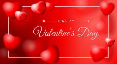 Valentines day card background with red hearts balloons 矢量图像