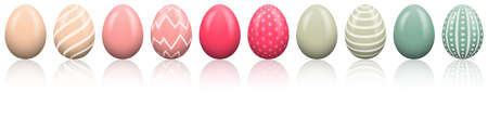 Colorful easter eggs in a row isolated
