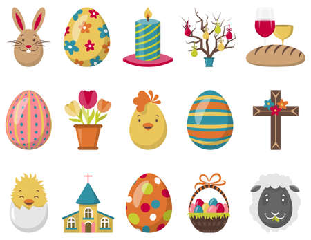 Easter icons christianity religion illustration vector set