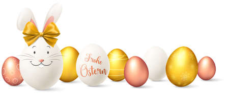 Easter eggs with easter bunny golden and rose gold illustration isolated (german) 矢量图像