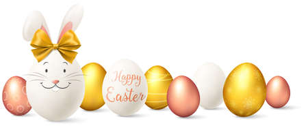 Easter eggs with easter bunny golden and rose gold illustration isolated 矢量图像