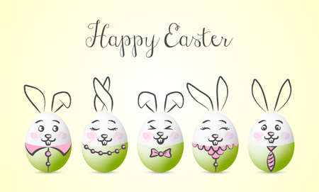Happy easter bunny vector card background