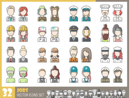 Professions avatars male and female set collection isolated