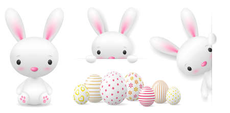 Cute easter bunny and painted easter eggs isolated illustration set collection