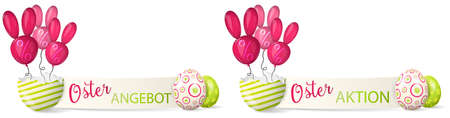 Happy easter paper banner with easter eggs and bunny balloons isolated illustration set (german)