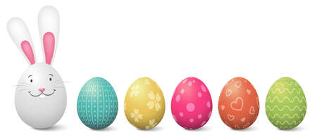 Easter bunny with painted colorful easter eggs illustration isolated