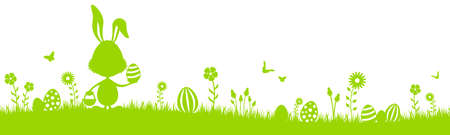 Green easter bunny eggs silhouette with grass and flowers isolated