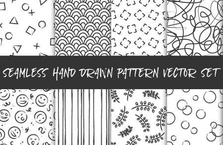Seamless hand drawn pattern background vector set black white
