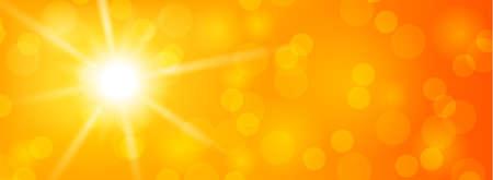 Summer sun shine bokeh abstract orange background illustration