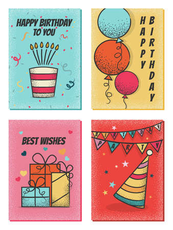 Happy birthday cards template set isolated on white background 矢量图像
